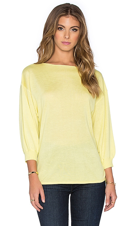 ATM Anthony Thomas Melillo Bluson Sleeve Boatneck Sweater in Yellow