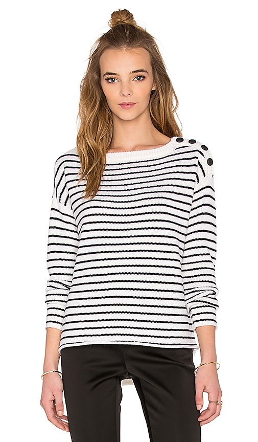 ATM Anthony Thomas Melillo Striped Sailor Sweater in Black & White Stripe