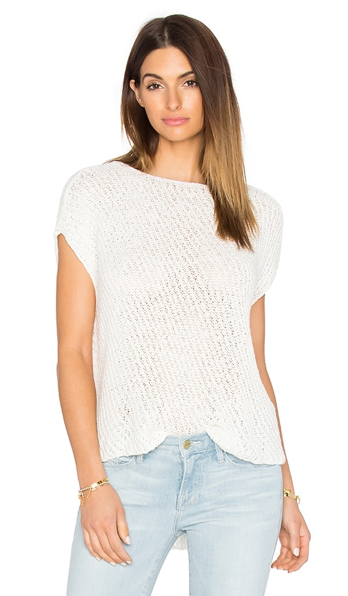 ATM Anthony Thomas Melillo Diagonal Stitch Pullover Top in White