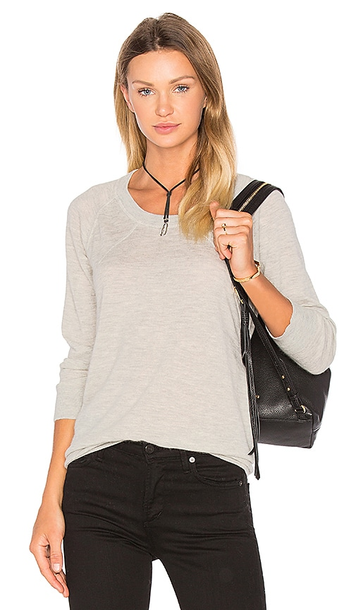 ATM Anthony Thomas Melillo Round Neck Cashmere Sweater in Light Gray