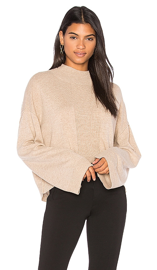 ATM Anthony Thomas Melillo Alpaca Mock Neck Sweater in Tan