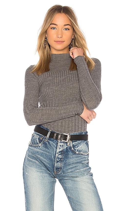 ATM Anthony Thomas Melillo Rib Turtleneck Sweater in Gray