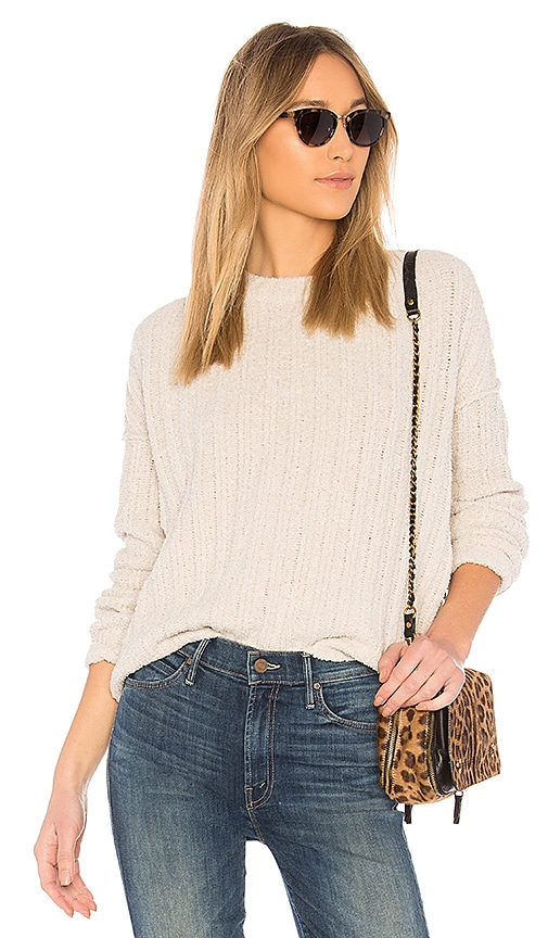 ATM Anthony Thomas Melillo Chenille Crew Neck Sweater in Beige