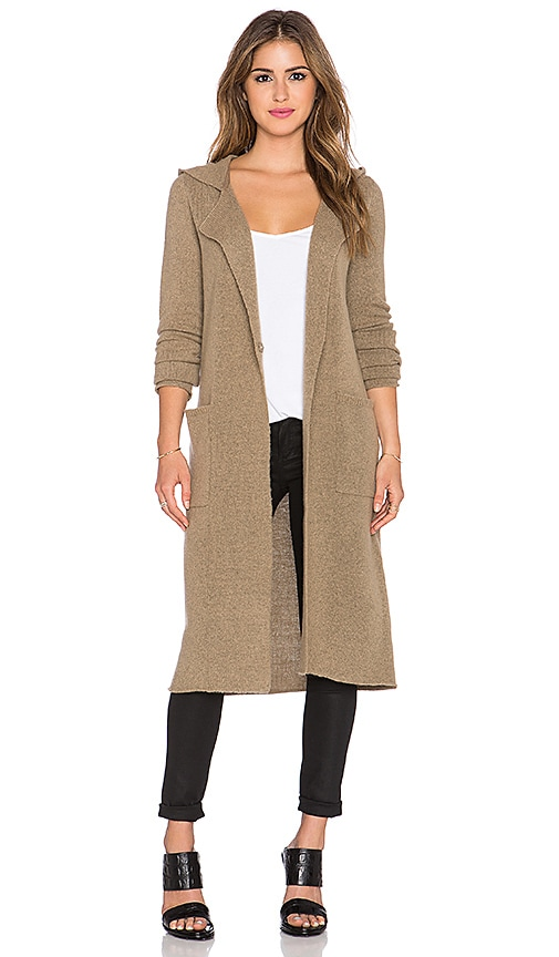 ATM Anthony Thomas Melillo Double Breasted Hooded Coat in Toffee