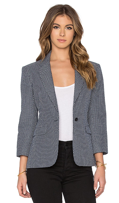ATM Anthony Thomas Melillo Jacquard Schoolboy Blazer in Navy & White