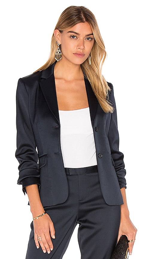 ATM Anthony Thomas Melillo Stretch Satin Blazer in Navy
