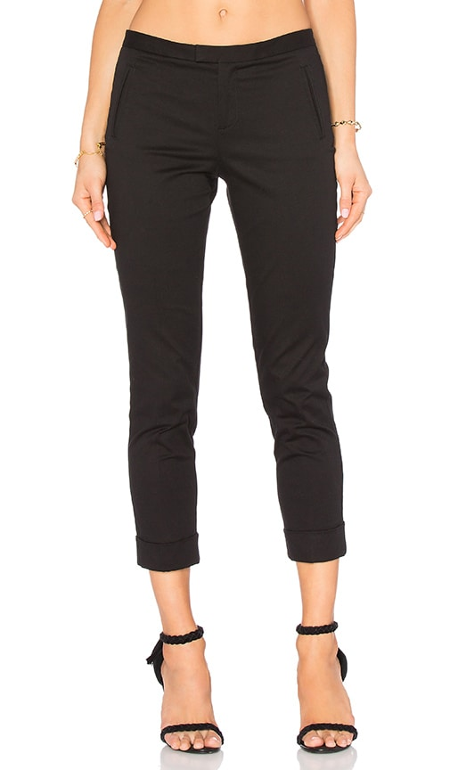 ATM Anthony Thomas Melillo Stretch Twill Slim Crop Pant in Black