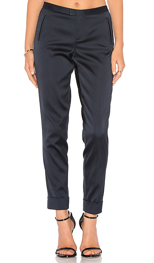 ATM Anthony Thomas Melillo Stretch Satin Classic Slim Pant in Navy