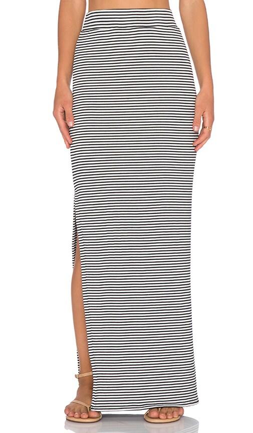 Striped Side Slit Maxi Skirt