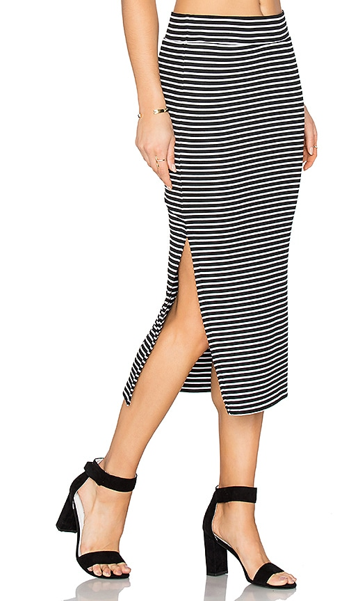 ATM Anthony Thomas Melillo Striped Rib Skirt in Black & White