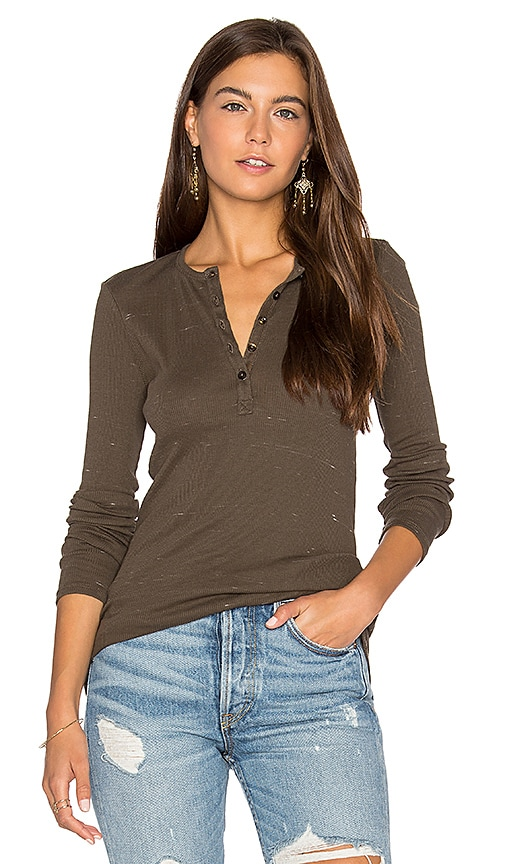 ATM Anthony Thomas Melillo Slub Jersey Blast Henley Top in Army