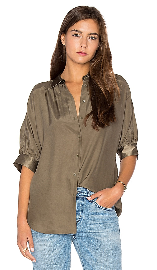 ATM Anthony Thomas Melillo Dolman Silk Blouse in Army