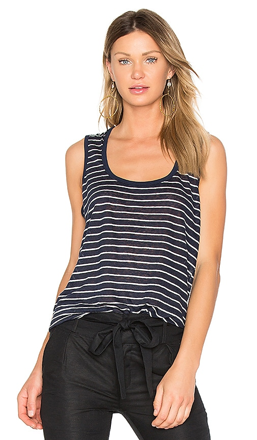 ATM Anthony Thomas Melillo Sweetheart Linen Jersey Tank in Navy