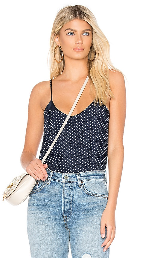ATM Anthony Thomas Melillo Silk Polka Dot Cami in Navy
