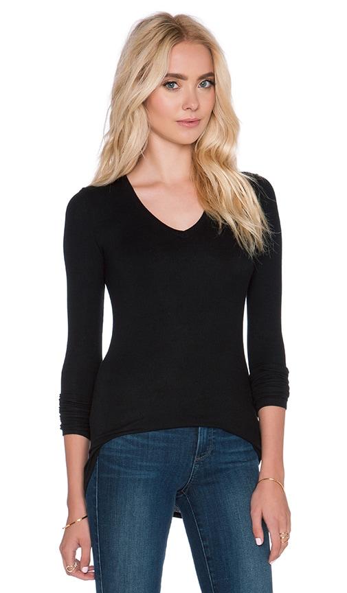 ATM Anthony Thomas Melillo Long Sleeve V Neck Rib Shirt in Black
