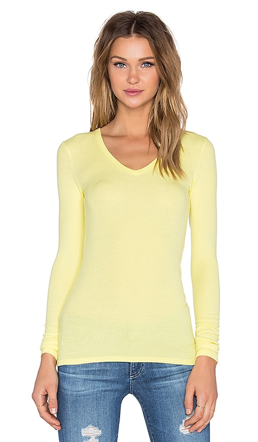 Rib V Neck Long Sleeve Tee