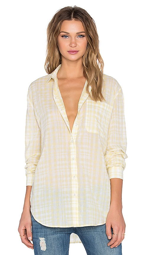 ATM Anthony Thomas Melillo Plaid Boyfriend Shirt in Yellow