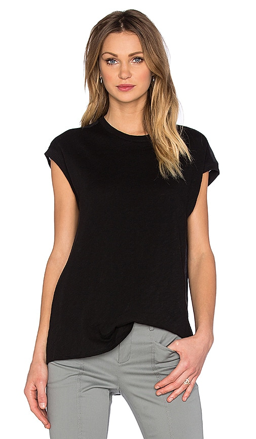 ATM Anthony Thomas Melillo Mixed Media Extended Shoulder Top in Black