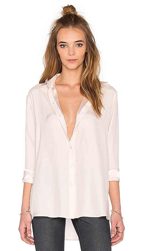 ATM Anthony Thomas Melillo Fringe Trim Button Down Top in Blush