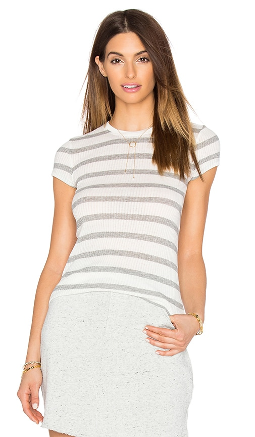 ATM Anthony Thomas Melillo Striped Cap Sleeve Tee in Heather Grey & Ecru