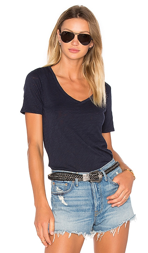 ATM Anthony Thomas Melillo V Neck Tee in Navy