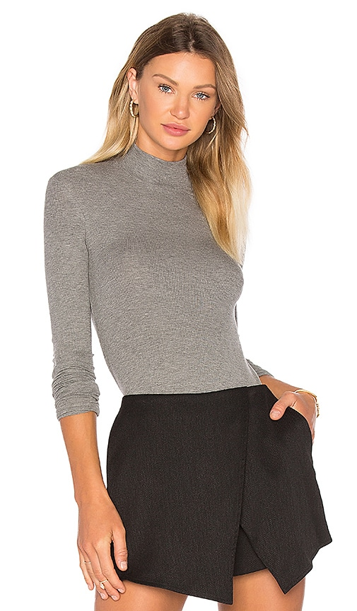 ATM Anthony Thomas Melillo Long Sleeve Micro Modal Mock Neck Top in Gray