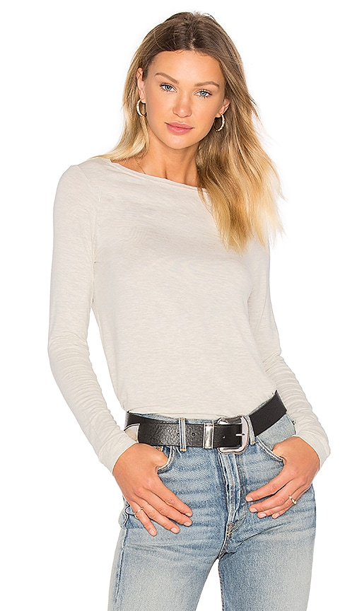 ATM Anthony Thomas Melillo Long Sleeve Boat Neck Tee in Beige