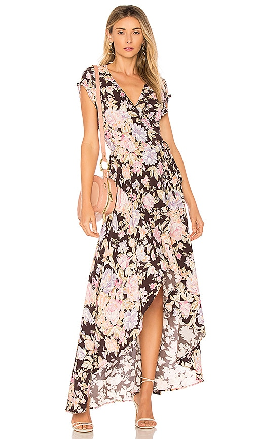 AUGUSTE New Romance Petal Wrap Dress in Black