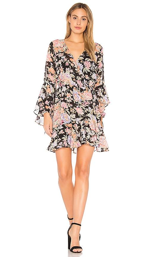 Edie Cascade Wrap Mini Dress in Black. - size Aus 10/US M (also in Aus 6/US XS,Aus 8/US S) Auguste