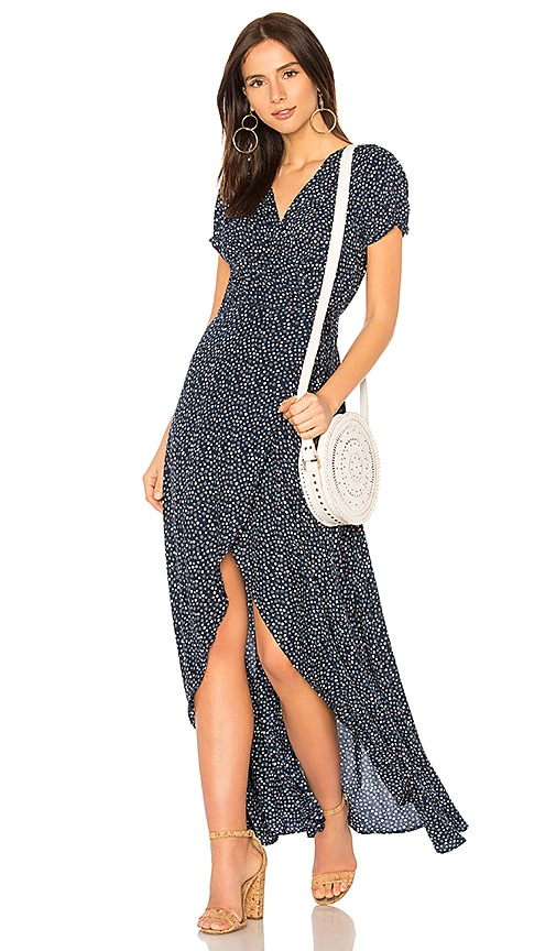 AUGUSTE Daphne Easy Days Wrap Maxi Dress in Navy