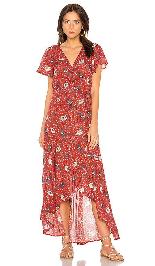 AUGUSTE Valentina Fiesta Wrap Maxi Dress in Red