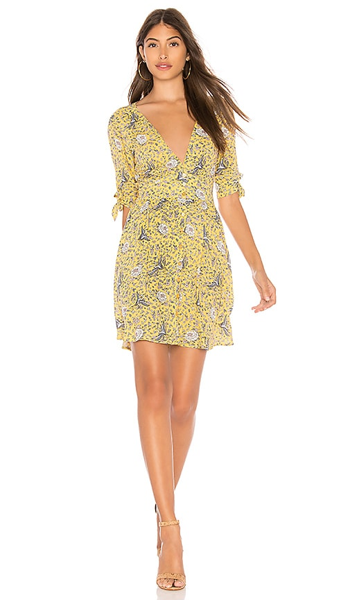 AUGUSTE X REVOLVE Valentina Crop Sleeve Mini Dress in Yellow