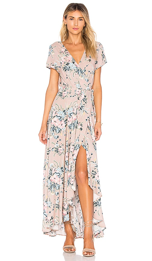 AUGUSTE Scarlett Wrap Maxi Dress in Blush | REVOLVE