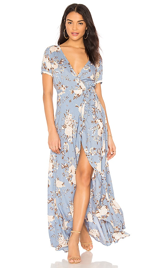 AUGUSTE Abigail Wrap Maxi Dress in Blue