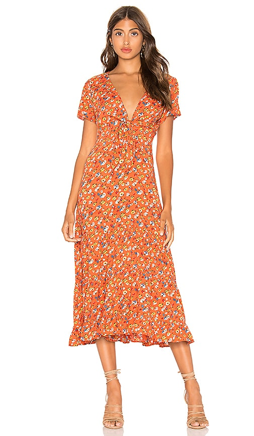the sale of shoes new york cheap AUGUSTE Agnes Fleur Midi Dress in Rust | REVOLVE