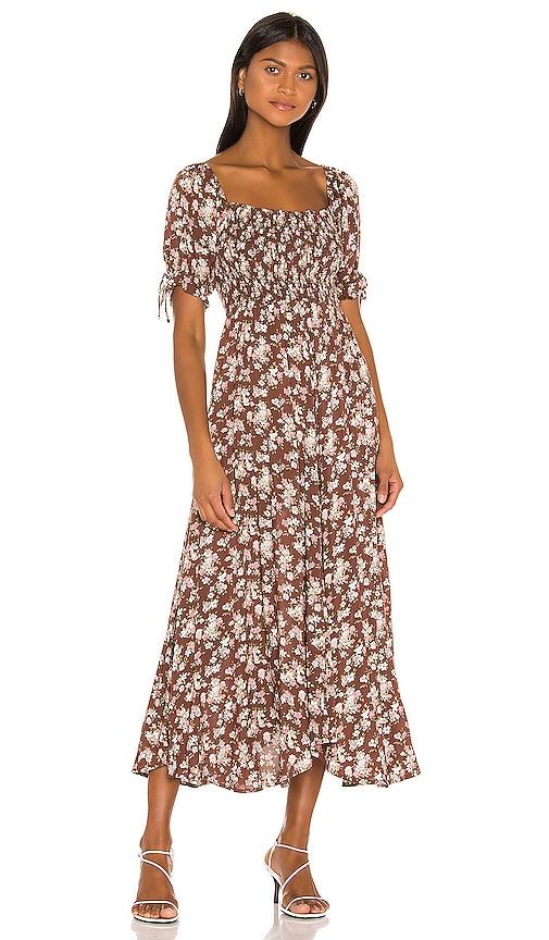 AUGUSTE Matilda Nina Midi Dress in Brown | REVOLVE