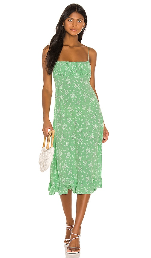 AUGUSTE X REVOLVE Maeve Davis Midi Dress in Vibrant Green | REVOLVE