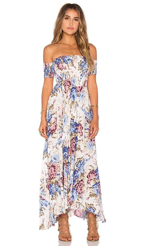 AUGUSTE Boheme Goddess Maxi Dress in Blue