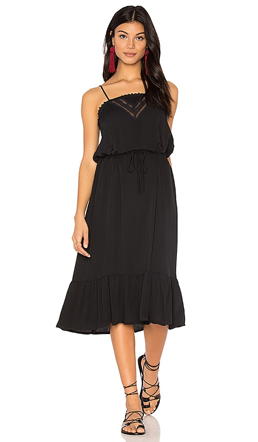 AUGUSTE Victorian Slip Midi Dress in Black