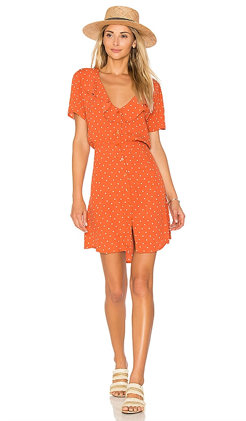 AUGUSTE Lilly Day Dress Classic Polka Dot in Burnt Orange