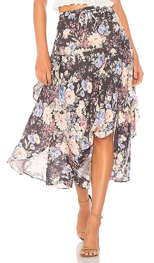 AUGUSTE Dahlia Cascade Skirt in Black