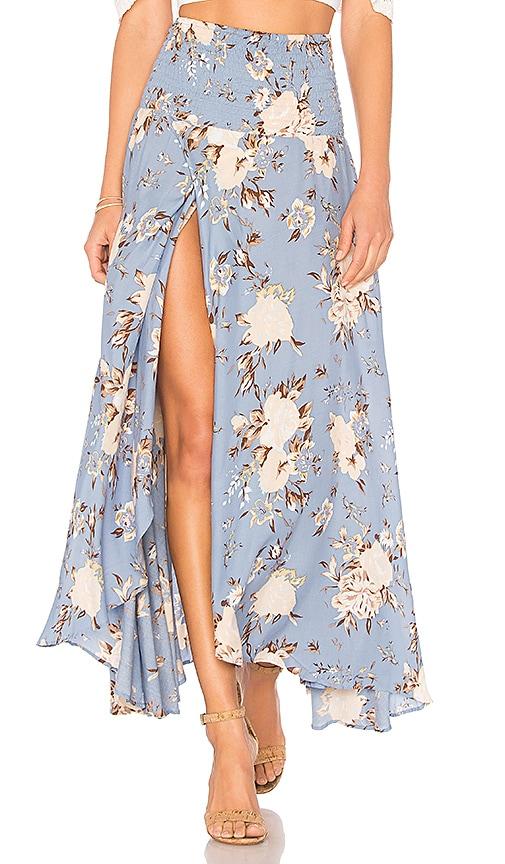 AUGUSTE Shirred Waist Maxi Skirt in Blue
