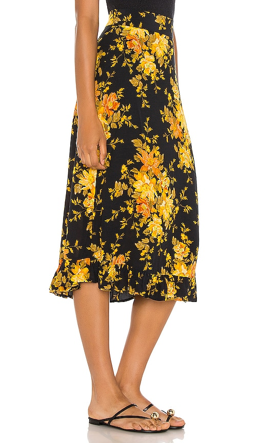 Auguste Devon Gia Midi Skirt in Black Floral