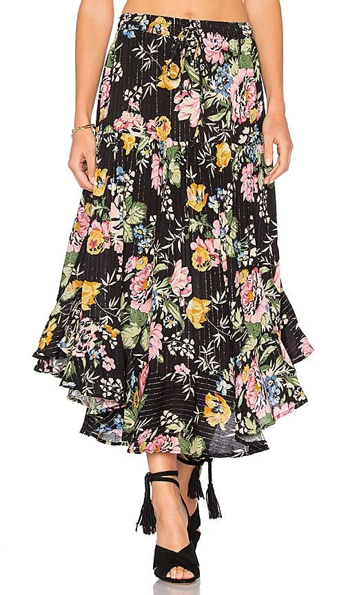AUGUSTE Delilah Frilled Midi Skirt in Black