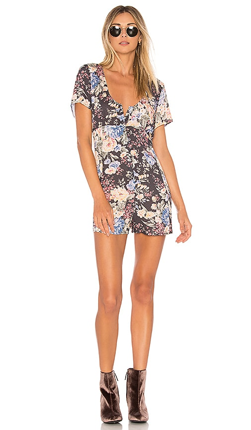 AUGUSTE Dahlia Button Down Romper in Black