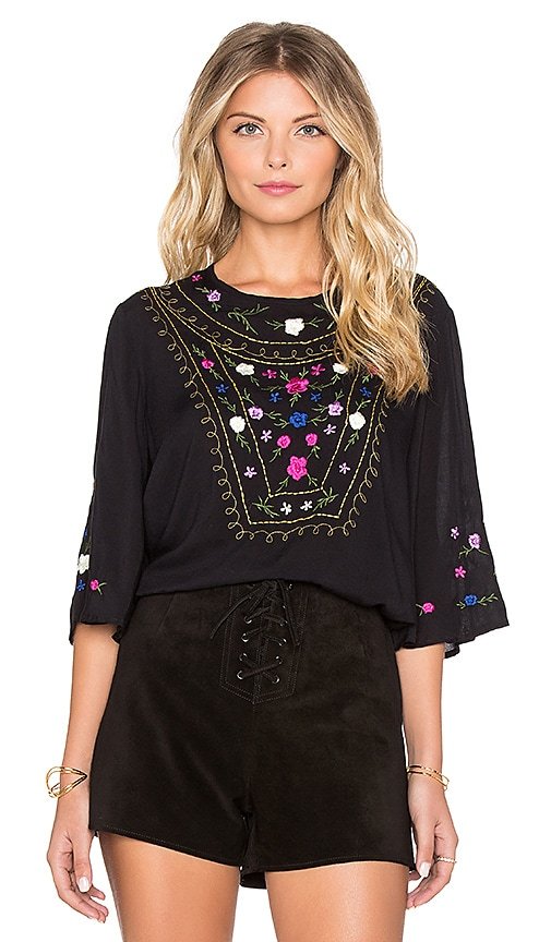 AUGUSTE Flower Child Top in Black