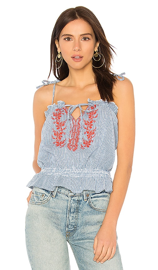 AUGUSTE Ivy Embroidered Cami Top in Blue