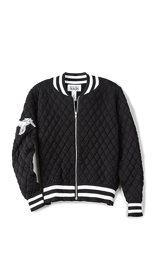 Autumn Cashmere Kids Quilted Bomber Jacket in Black