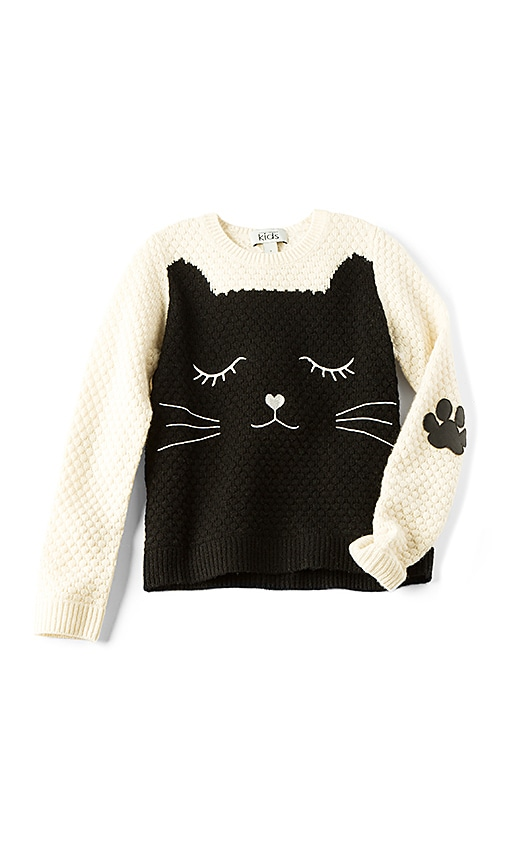 Autumn Cashmere Kids Cat Sweater in Ivory
