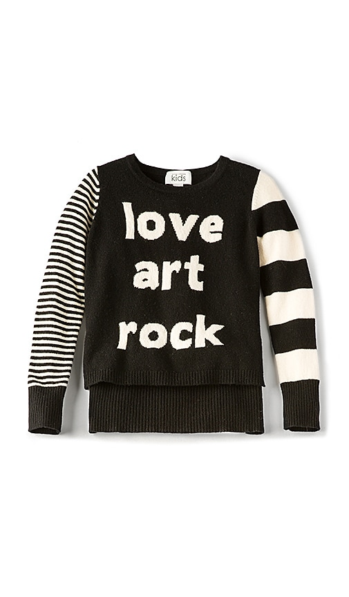 Autumn Cashmere Kids Love Art Rock High Low Sweater in Black